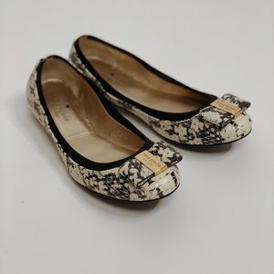 Kate Spade Reptile Print Leather Bow Flats